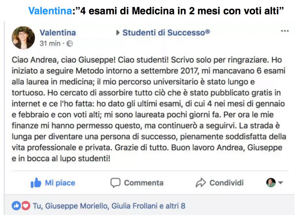 testimonianza valentina metodo di studio universitario medicina